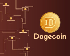 Dogecoin technology circuit concept style background
