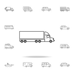 lorry with a trailer icon. Detailed set of transport outline icons. Premium quality graphic design icon. One of the collection icons for websites, web design, mobile app