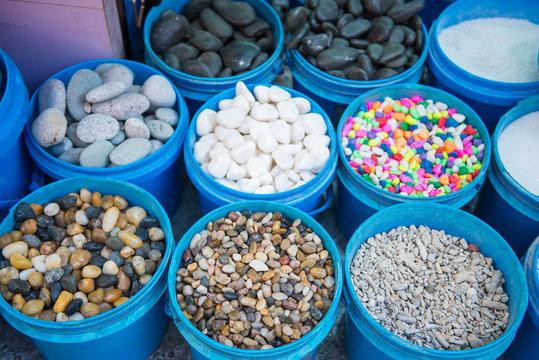 Stone gravel for decoration in the aquarium