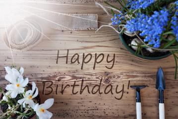 Sunny Spring Flowers, Text Happy Birthday
