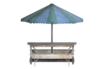 Picnic table with umbrella isolated on white, 3d render.