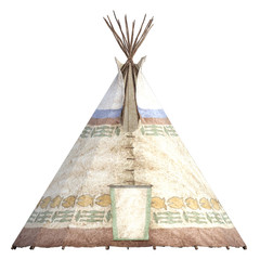 Indian Teepee tent isolated on white. 3d render