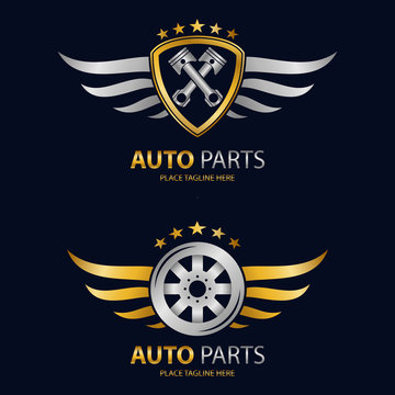 Auto shield icon and winged wheel on black background