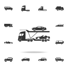 Car carrier truck deliver new auto icon. Detailed set of transport icons. Premium quality graphic design. One of the collection icons for websites, web design, mobile app