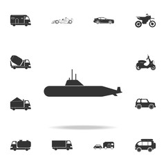 Military submarine icon. Detailed set of transport icons. Premium quality graphic design. One of the collection icons for websites, web design, mobile app