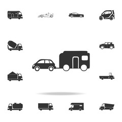 Car with trailer icon. Detailed set of transport icons. Premium quality graphic design. One of the collection icons for websites, web design, mobile app