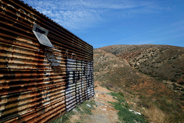 A section of the fence separating Mexico and the United States is seen, on the outskirts of Tijuana