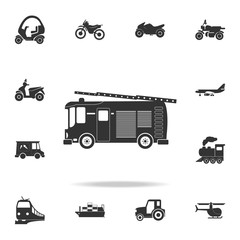 Fire truck icon. Detailed set of transport icons. Premium quality graphic design. One of the collection icons for websites, web design, mobile app