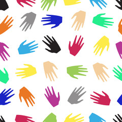 colored hands of people. seamless pattern
