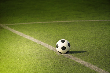 Soccer or Football on green field with light beam