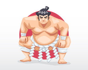 Sumo standing in crouch stance with red circle as background illustration