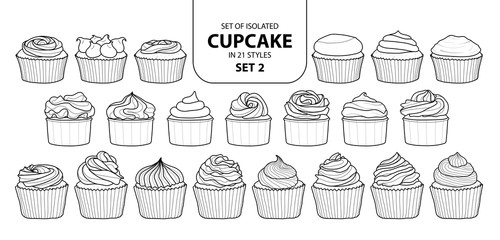 Set of isolated cupcake in 21 styles set 2.