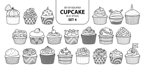 Set of isolated cupcake in 21 styles set 4.