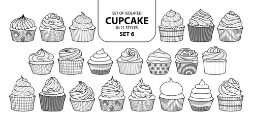 Set of isolated cupcake in 21 styles set 6.