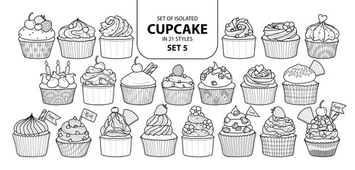 Set of isolated cupcake in 21 styles set 5.