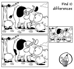 Cow and two funny little pigs on a meadow. Find 10 differences. Educational game for children. Black and white cartoon vector illustration