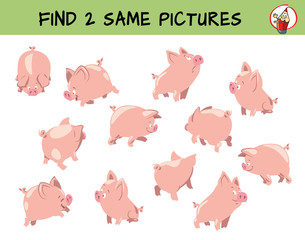 Cute little pigs set. Find two same pictures. Educational matching game for children. Cartoon vector illustration