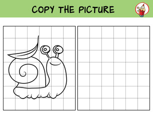 Funny little snail. Copy the picture. Coloring book. Educational game for children. Cartoon vector illustration