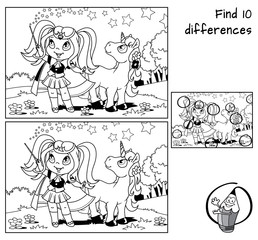 Cute little witch girl with a magic wand and young unicorn. Find 10 differences. Educational game for children. Black and white cartoon vector illustration