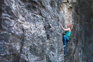 Climber climbs up