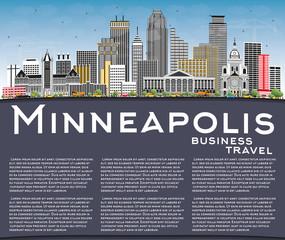 Minneapolis Minnesota USA Skyline with Color Buildings, Blue Sky and Copy Space.