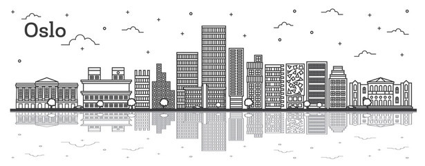 Outline Oslo Norway City Skyline with Modern Buildings and Reflections Isolated on White.