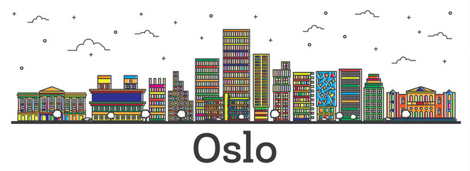 Outline Oslo Norway City Skyline with Color Buildings Isolated on White.