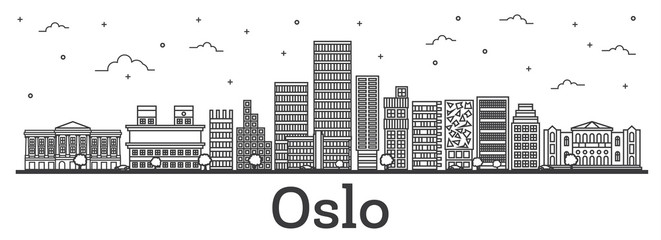 Outline Oslo Norway City Skyline with Modern Buildings Isolated on White.