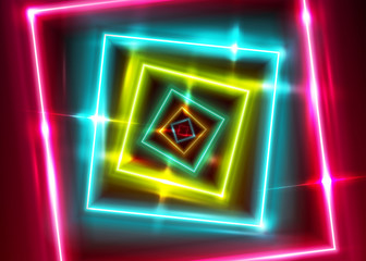 Vector Neon Rectangle Frame. Shining Square Shape with Vibrant Ultraviolet Colors. Led Light Effect. Laser Tag Playground. Abstract Bright Minimal Background with Perspective.