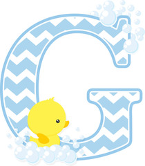 initial g with bubbles and little baby rubber duck isolated on white background. can be used for baby boy birth announcements, nursery decoration, party theme or birthday invitation