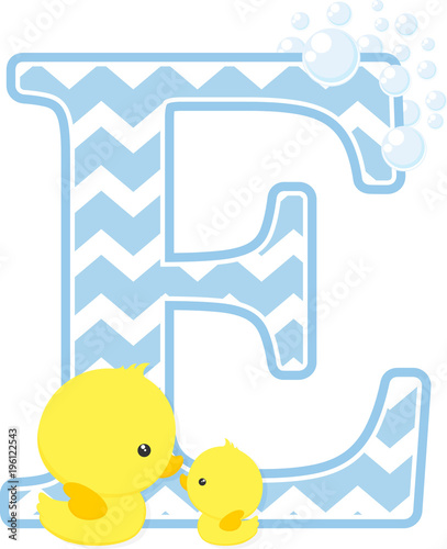 initial e with bubbles and little baby rubber duck isolated on white