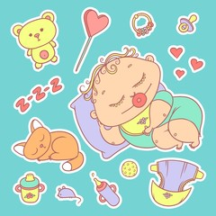 Stickers sleeping child and kitten. Hygiene items, baby care and toys. The chubby curly asleep kid with pacifier in his mouth in bright clothes and red cat. Vector set of color illustrations