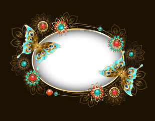 Oval banner with turquoise butterflies