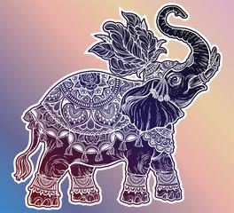Vintage Indian ethnic boho elephant with feathers.