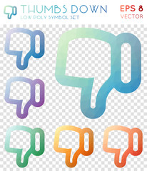 Thumbs down geometric polygonal icons. Bold mosaic style symbol collection. Modern low poly style. Modern design. Thumbs down icons set for infographics or presentation.