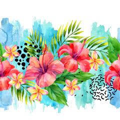 Hand painted artwork: watercolor tropical leaves and flowers on brush strokes background.