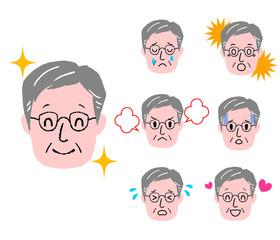 シニア男性 顔 表情 セット