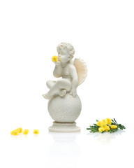 Angel cherub with yellow flowers on a white background