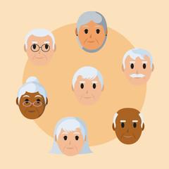 Gransparents faces cartoon