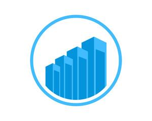 abstract buildings icon blue skyscraper cityscape architecture construction image vector