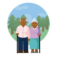 Cute grandparent couple cartoon