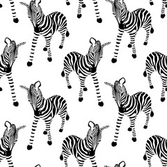 Zebra seamless pattern. Wild animal texture. Striped black and white. design trendy fabric texture. Illustration isolated on white background.
