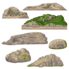 Set of Rocks  Isolated on White