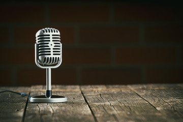 Silver vintage microphone.