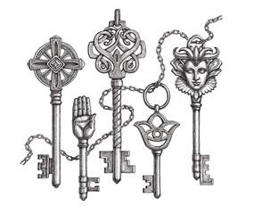 Старинные средневековые ключи, рисунок на белом фоне.