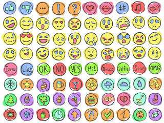 Emoticons emoji avatars smiles doodle pencil signs set color