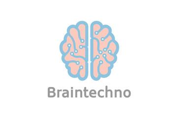 Creative Smart Blue Pinky Brain Technology Logo Design Illustration