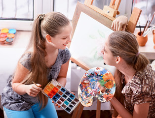 Artist painting easel in studio. Authentic children girl paints with set palette watercolor paints palette and brush in morning sunlight .Dispute at work. Top view school interior handmade crafts .