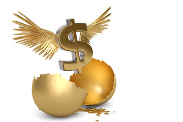 Dollar sign with wings and break gold egg. 3D illustration.