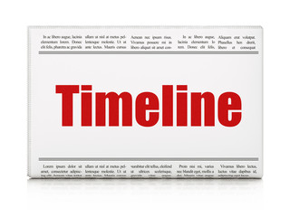Time concept: newspaper headline Timeline on White background, 3D rendering